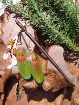 カラフル羽根のかんざし(グリーン)